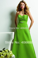 Cheap Vogue Summer Bright Color Lime Green Sweetheart Satin Pleat Beaded Long Bridesmaid Dress 2015
