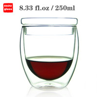 Wholesale new style fl oz ml Heat Resisting Clear Glass Double Wall Wine Water Coffee Mug Tea cup Egg Body with Lid Teacups