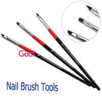 Wholesale BeautyGaGa Supply X set Black Red Handle Nail Art Design Pen Painting Dotting Pen Nail Art Brush Nail Tools Kit