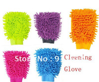 Wholesale In stock Auto Car Household Cleaning Glove Chenille Fiber Orange Blue Purple Red Yellow Optional