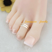Wholesale pieces brass material silver gold plated fashion hollowing middle line body jewelry toe rings x1