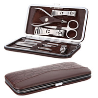 clippers - 12 in Manicure Set Stainless Steel Pedicure Set Nail Scissors Nail Clippers Kit with Leather Case H9460