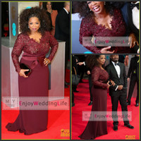 Wholesale Red Carpet Plus Size Celebrity Dresses Burgundy Oprah Winfrey Sheath V Neck Long Sleeve Lace Top Sweep Train Evening Gowns BO6383