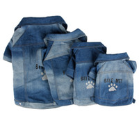 pet fabric - Fashion Paw Print Pet Clothes Jean Fabric Dog Coat Bite Me Puppy Apparel Cat Costume Pet Dog Wear
