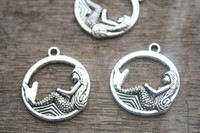 antique circle - 15 Mermaid charm pendants x mm circle antique silver tone