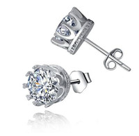 Wholesale Imperial Gifts Crown Wedding Stud Earring New Sterling Silver CZ Diamonds Engagement Vintage Korean Jewelry