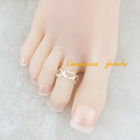Wholesale pieces silver gold plated copper material fashion body jewelry heart hollowing toe rings for women x4