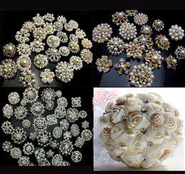 Wholesale 20P SILVER GOLD X Mixed Bulk Wedding Bridal Decoration Silver Colour Flower Crystals Brooches Brooch Bouquet Rhinestones