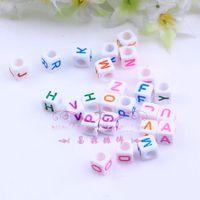 Wholesale 1000pcs white mm Rainbow loom Acrylic powder bead popular loom bands English alphabet DIY Loom bracelet accessories