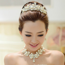 Wholesale 2014 Bridal Jewelry three piece Jewelry Pearl Bride Wedding Dress Accessories Crown Marriage Tire Chain Necklace Set of Earrings