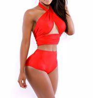 Wholesale 2014 Hot Sale High Waist Bikini Set Sexy Woman Plus Size Bandage Halter Swimwear Swimsuit Bathing Suit Lady Beach Wear Mix Colors