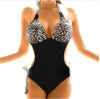 Nylon xxl sexy - Hot Sale Sexy Women Plus Size One Piece Monokini Leopard Bikini Sets Back Tied Halter Swimwear Swimsuit Bathing Suit Plus size S M L XL XXL