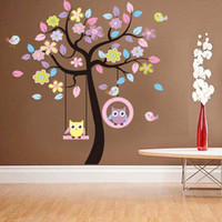 Wholesale Large Owl Bird Tree Swing Wall Sticker PVC Decal for Kid Nursery Room Amazing