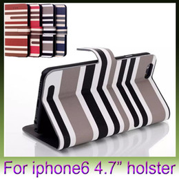 PU Leather Case Luxury Fashion Stripes Case with Card Holder Smart Stand Cover for iPhone 6 plus 4.7 5.5 inch