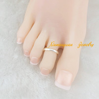 Wholesale pieces silver gold plated copper material fashion body jewelry plain toe rings for women x6