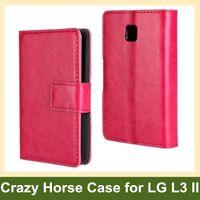 Wholesale Lg Optimus L3 Blue - Wholesale Multicolor Crazy Horse Pattern PU Leather Folding Wallet Flip Cover Case for LG Optimus L3 II E430 E435 Free Shipping