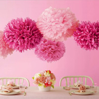 Wholesale Colorful Paper Poms Colors inch Tissue Paper Pom Blooming Flower Balls Wedding Party Baptism Decoration Xmas Deco