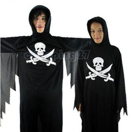 Wholesale Hot Halloween Party Clothes Cosplay Costume batwing sleeved Skeleton Ghost Cloth