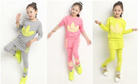 Cheap Fashion kids loose coat clothes t-shirt, outfits cotton high quality pull over autumn fall korean girls sport clothes set