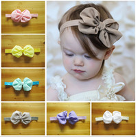 baby hair combs - new Elastic bow knot Headbands baby girl s chiffon flower hairbands kids floral hair accessory