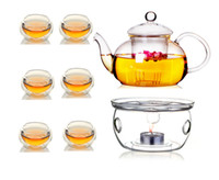 tea cup candles - Borosilicate Glass CLear Teapot Tea Set Warmer Infuser Double Wall Cups Candles