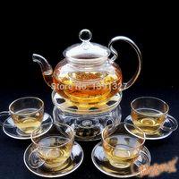 tea set - Borosilicate Glass Clear Teapot Tea Set Warmer Mugs Candles