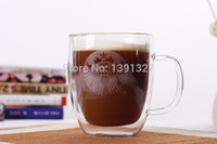 Wholesale Manually Blow molded Heat resistant Clear Glass Double Wall Mugs Style Starbucks Coffee Mugs