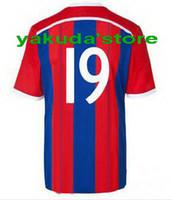 Wholesale 2014 New Customized Thailand Quality Munich Mario Gotze Red Blue Strip Home Jerseys Season Soccer Jersey Soccer Ball Jersey