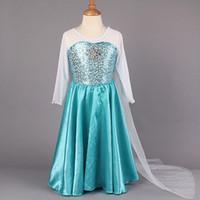 2014 New Arrival Frozen Princess Dresses Blue Elsa Dresses W...