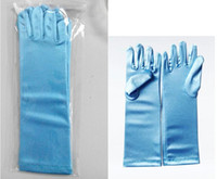 Cheap Finger gloves frozen elsa gloves kids gloves costume Long Blue gloves snow Queen Elsa Cartoon Party Costumes children gloves
