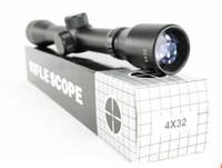 Cheap black 4X32 Rifle Scope Tactical Precision Optics Mount Air Rifle Gun Scope Collimator Gunner red laser scope sight telescope