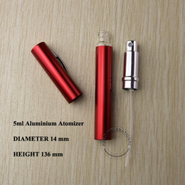 5ml red aluminium+glass perfume bottle liquid atomizer spray bottle hydrating pen design perfume bottle vial container 10pcs lot