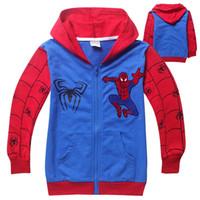 Wholesale New children hooded spiderman cartoon boys jumpers boy terry hoodies kids warm sweater clothing