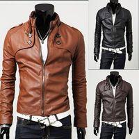 Cheap New Fashion Men Slim Short Jacket Casual Jacket Collar Men PU Leather Machine Wagon Jacket