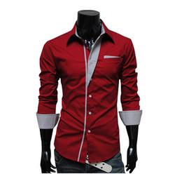 Wholesale New Hot Fashion Spring Men s Long Sleeve Solid Casual Shirt Slim Fit Casual Shirts Colors Men Dress shirt NZ72