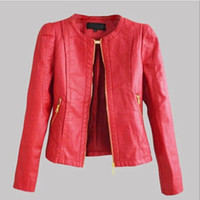 Wholesale Women faux leather jacket PU Leather Short Jacket Feminino Jaqueta couro Sexy leather jacket women colour black red khaki XX529