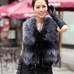 Wholesale Low Low Low Autumn and Winter New Design Nature Genuine Real Silver Fox Fur Vest gilet outwear womens with Fox Heads
