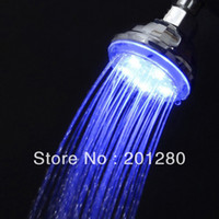 Cheap 5pcs 360 degree Adjustable Modern 7 Color Change LED Light Bathroom Overhead Automatic Shower Head Faucet Colorful Free Shipping