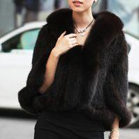 Wholesale New Genuine Knit Mink Fur Shawl Poncho With Fox Trimming Real mink fur jacket Fashion Women TP6002