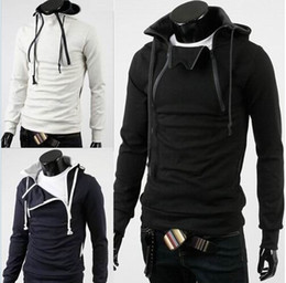Wholesale 2014 New Design high quality Men Fashion Hoodies Double Zippers Hooded Men Sweatshirts Men Coat outwear Colors