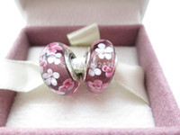 Cheap 2pcs S925 Sterling Silver Pink&White Flower Murano Glass Beads Europe Charm Beads Fit DIY Jewelry Bracelet & Necklaces