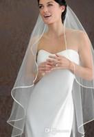 Wholesale Satin Ribbon Band - 2015 cheap short veil Hot Seller 1 LAYER White Ivory wedding Veils Short Bridal Wedding Accessories Veil bridal wedding veil With Satin band
