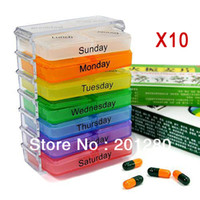 Cheap 10pcs Medicine Weekly Storage Pill 7 Day Tablet Sorter Box Container Case Organizer Envase Colorful High Quality Free Shipping