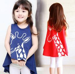 Wholesale Summer Child Girls Shirts Giraffe T shirt Dress Lovely Deer Shirt Sleeveless Cotton Long Style Tee Top Dresses Blue Red For Y A417