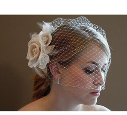 Wholesale 2014 New Arrival Stunning Net Ivory Bird Cage With Flower Wedding Bridal Veils