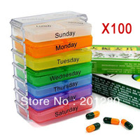 Cheap 100pcs Colorful Medicine Weekly Storage Pill 7 Day Tablet Sorter Box Container Case Organizer Envase Free Shipping DHL