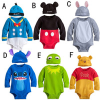 Wholesale 3 sets New Spring Autumn Boys Girls Animal model long sleeve Romper with cap hat Boy Girl Baby One Piece cartoon Rompers