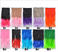 Wholesale 2014clip in Hair Extension Rainbow Fading Color Clip In Hair Extensions Straight Synthet Colors130grams cm inch