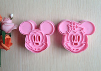 Wholesale 2PCS Pink Mickey mouse shape mold sugar Arts set Fondant Cake tools cookie cutters MB205