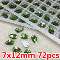 Wholesale Green Color Pear Drop Sew On Stone Glass Crystal Beads Flatback x12mm x18mm x28mm x22 x18 x25 x38mm